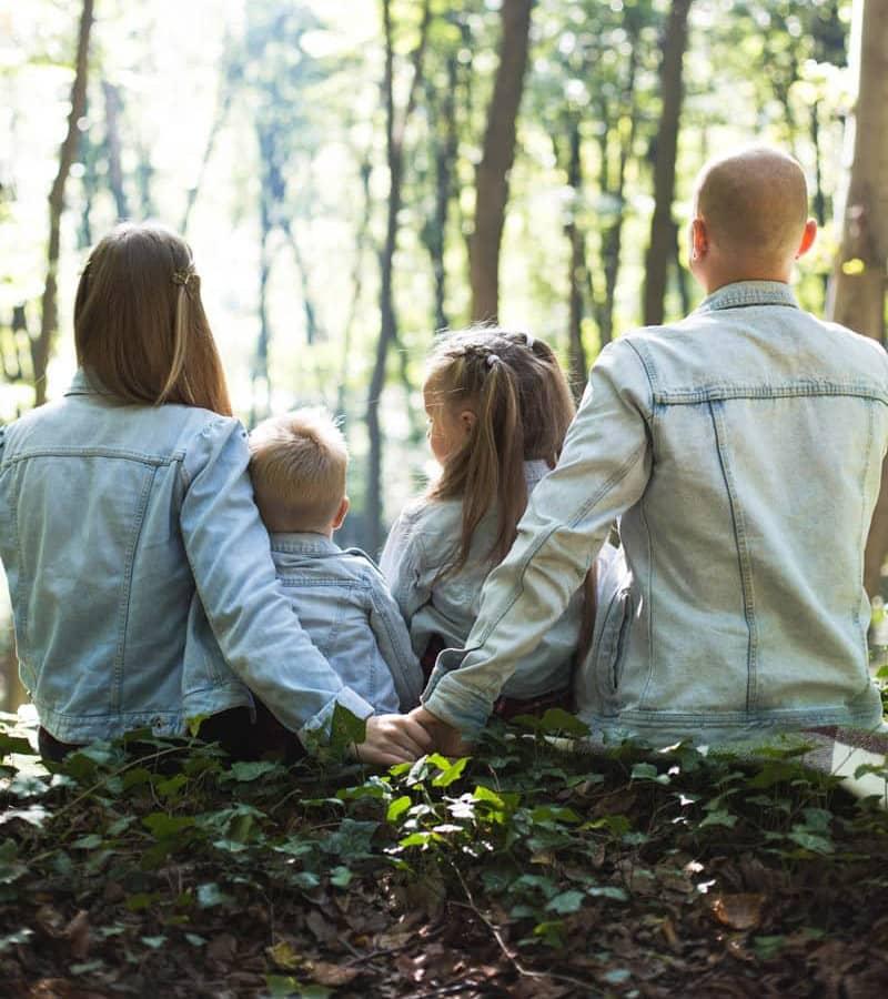 Family enjoying the beauty of nature